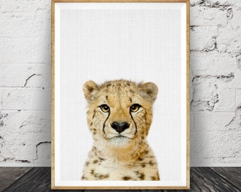 Nursery Wall Art, Cheetah Print, African Safari Animal, Printable Decor, Digital Download, Peekaboo Animal, Large Poster, Baby Animal