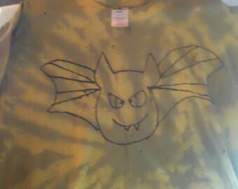 Halloween bat tie-dyed t-shirt - adult large