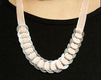 Baby pink velvet ribbon necklace