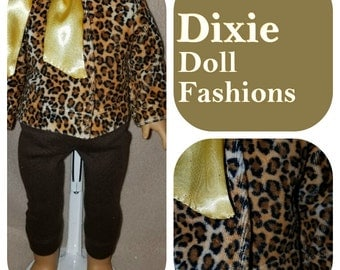 """Dixie-crafted Animal Print outfit is designed to fit 18"""" Dolls including those from the American Girl Company"""