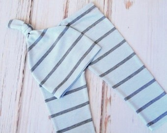 RTS Newborn Baby Boy Blue and Gray Photo Pant and Hat.