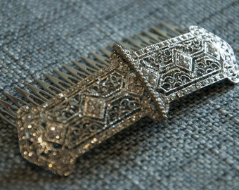 Art Deco Hair Comb, Gold or Silver Plated