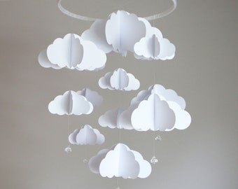 Cloud Mobile. Cloud Crib Mobile. Baby Mobile. Clouds. 3D. Photo prop. Baby shower. Birthday Gift. Baby nursery. Decor. Nursery. Gift. White.