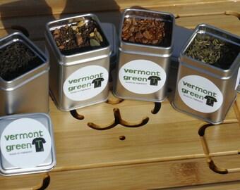 Organic Tea Sampler Pack, Chai Tea / Black Tea Blend / Rooibos Cinnamon / Green Tea with Mint, Stocking Stuffer, Holiday Gift, Zen