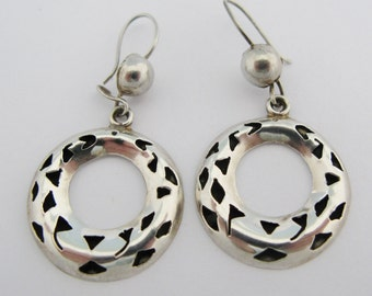 Mexican Dangle Earrings Cut Out Sterling Silver Eagle Mark Bell Mark