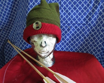 Hat - Box shaped olive and burgundy hat