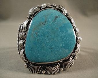 Huge Huge Huge Old Navajo Deep Blue Sea Turquoise Silver Bracelet Old
