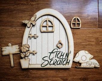 Fairy door fairy door frame magic girls room decor wooden for Wooden fairy doors to decorate