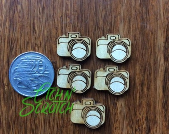 Laser Cut SLR Camera Wood Veneer Scrapbooking Embellishment