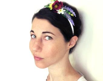 Bridal headband, Floral headband,Floral alive band, flowergirl headband, Boho rustic wedding hair accessory.