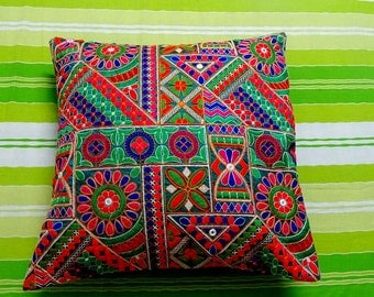 60% Discount - Kutch Multi coloured mirror Ethnic embroidered cushion/ 16 X 16 inches Cotton cushion cover