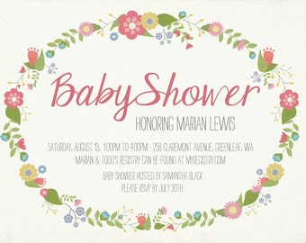 Rosette- Baby Shower Invitation-Template