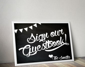 Sign our Guestbook personalized printable poster chalkboard sign