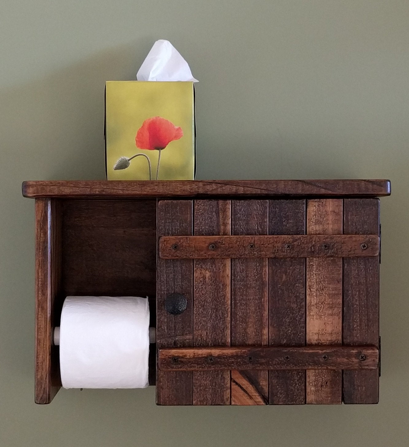 Toilet Paper Holder Cabinet With Shelf Made From Rustic