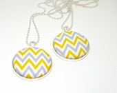 yellow and grey chevron fabric button pendant