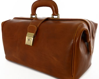 Doctor Leather Bag - Gharda - Tuscan Leather, Genuine leather doctor bag100% made in italy
