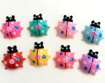 8 Pieces Assorted Lady Bug Ladybug Cabochons - Kawaii Decoden Flatback Resin (TDK-C1597)