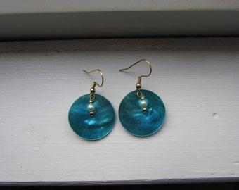 Dark Blue Shell Earrings