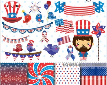 80%OFF - 4th of July Clipart, 4th of July Graphics, COMMERCIAL USE, Planner Accessories, 4th of July Party, Independence Day, Cute