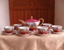 Fragonard Bavaria Tea Set, Love Story German Tea Set, Vintage Courting Couple Teapot And Six Cups And Saucers