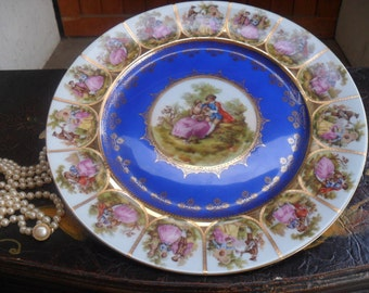 Fragonard Bavaria Courting Couple Plate, Love Story Bavaria Plate