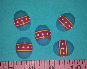 Blue decorated Eastet Egg Embellishment, Acrylic, Flat Back, Resin,  DIY