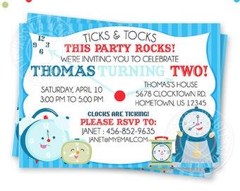 Clock Characters Printable Invitation- 4x6 or 5x7 inch Custom Clock Party Invitation- Printable Clock Birthday Party Invitation