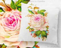 WATERCOLOR ROSE Clipart Commercial Use Clipart Rose Floral Fabric Transfer Image Watercolor Clipart Iron on Transfer Image Transfer Jpg/Png