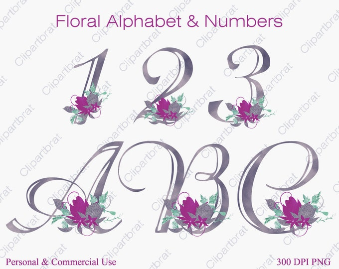 PURPLE FLORAL ALPHABET Clipart Commercial Use Clipart Wedding Monogram Letters Silver Watercolor Flower Alphabet Fancy Floral Numbers Letter