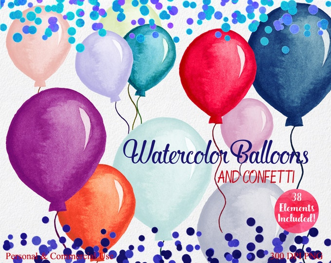 PARTY BALLOONS & CONFETTI Clipart Commercial Use Clip art 4 Confetti Borders 34 Watercolor Balloons Clip Art Birthday Invitation Clipart