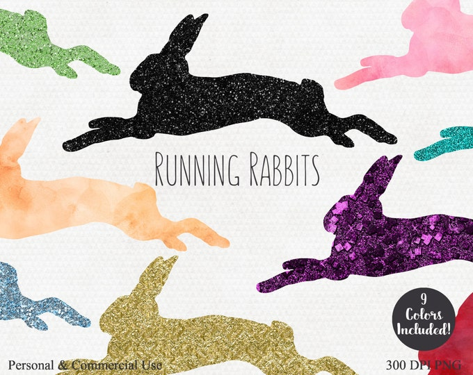 BUNNY RABBITS CLIPART Commercial Use Clipart Bunny Clipart Easter Bunny Rabbit Graphics Glitter Gold & Watercolor Rabbits Running Hopping