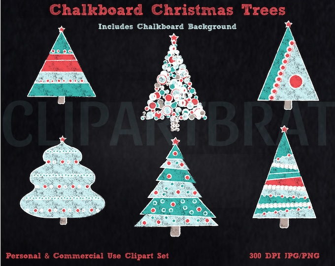 CHRISTMAS TREE CLIPART Commercial Use Clip Art Christmas Trees Chalkboard Clipart Trees Holiday Graphics Red & Aqua Christmas Clipart Images