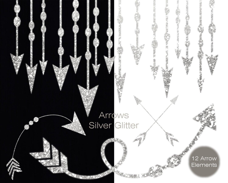 SILVER ARROW Clip Art Commercial Use Clipart Metallic ...