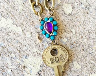 You're a Gem // Handmade Repurposed Vintage Key Necklace
