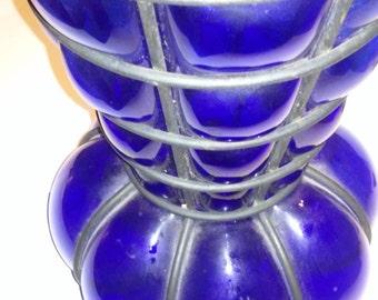 Cobalt Blue Hand Blown Vase in Metal