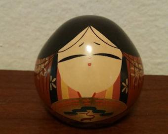 Japanese Round Pyramid Shaped Wooden Doll Dairi-Bina Style