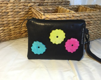 Handmade Black leather wristlet with neon flowers