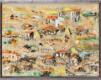 """Original large abstract oil painting - """"Village Dawn"""" - 32x24"""" canvas"""