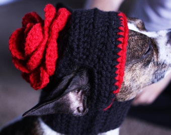 Red Rose Dog Hat Cute Pet Hat Red Gypsy Rose Ready to ship or Made to your Order
