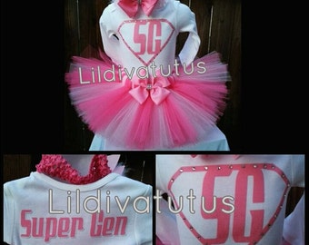 Handmade Super girl tutu set / Super woman tutu set / pink Super Man tutu set / super women tutu set