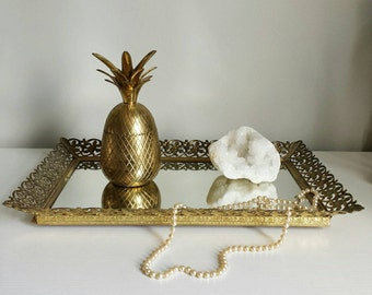 Mirrored Vanity Tray Perfume Tray Vintage Vanity Tray Bathroom Tray Makeup Tray Brass Vanity Hollywood Regency Mirror Victorian Mirror