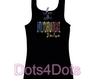 No Rhinestones Pittsburgh Steelers football Bling Tank Top sequins Shirt
