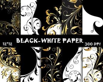 Black-White Scrapbook Paper, Gold Floral Patters, Wedding background, Gold Floral Scrapbook, Black-White Digital paper, Instant download