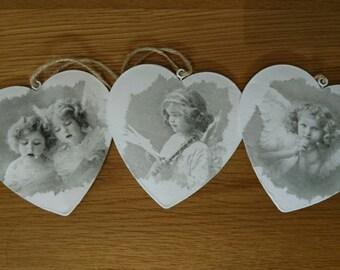 Metal hearts - Valentines angels, cherubs  Set of 3