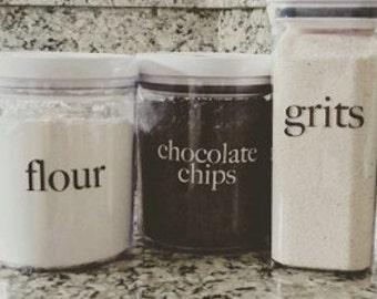 Kitchen Organization Label Decals