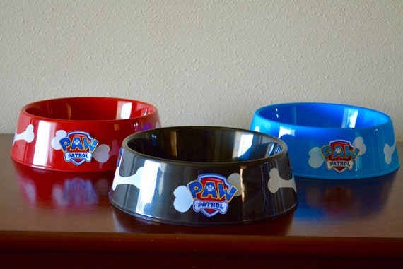 Paw patrol theme dog bowls set of 3 for Plastic dog bowls for party
