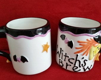 Halloween Witch's Brew Set of 2 Mugs