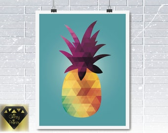 Pineapple Printable, Pineapple Print, Geometric Print Instant Download , Printable Wall Art