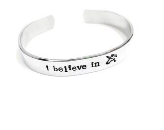 1/2 inch cuff • I believe in Unicorns • Cuff Bracelet | hand stamped | unicorn| whimsical | mystical | geeky | magical