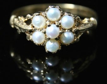 Antique Pearl Cluster Ring 18ct & Silver